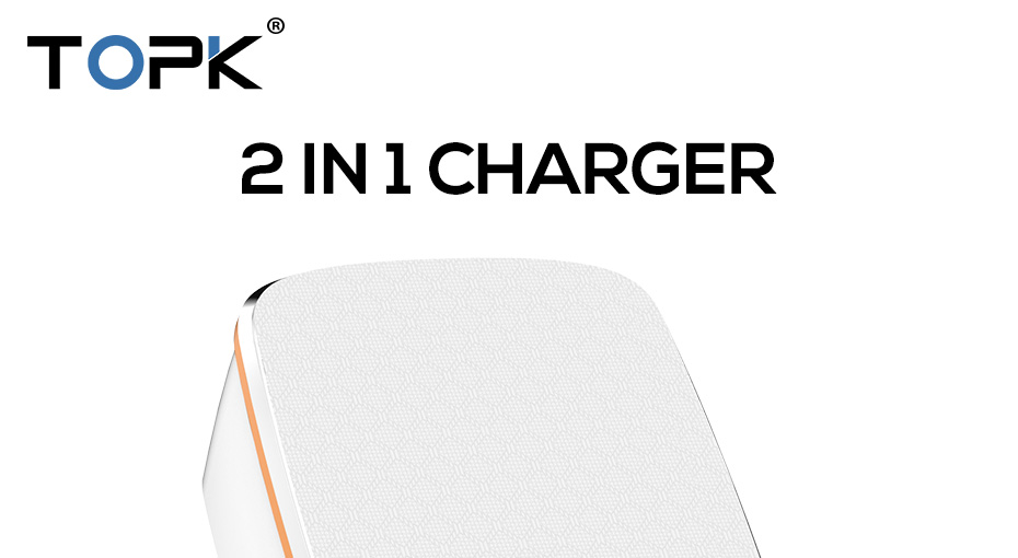 TOPK 3-Port 5V/3.4A 17W Auto-ID EU&US 2-IN-1 Travel Wall Mobile Phone USB Charger Adapter for iPhone Samsung Xiaomi Huawei