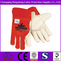 "12"" Inch Wholesale cheap long red/blue leather working gloves for men/women"