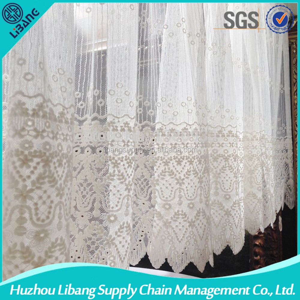 white cotton romantic lace curtain fabrics for living room