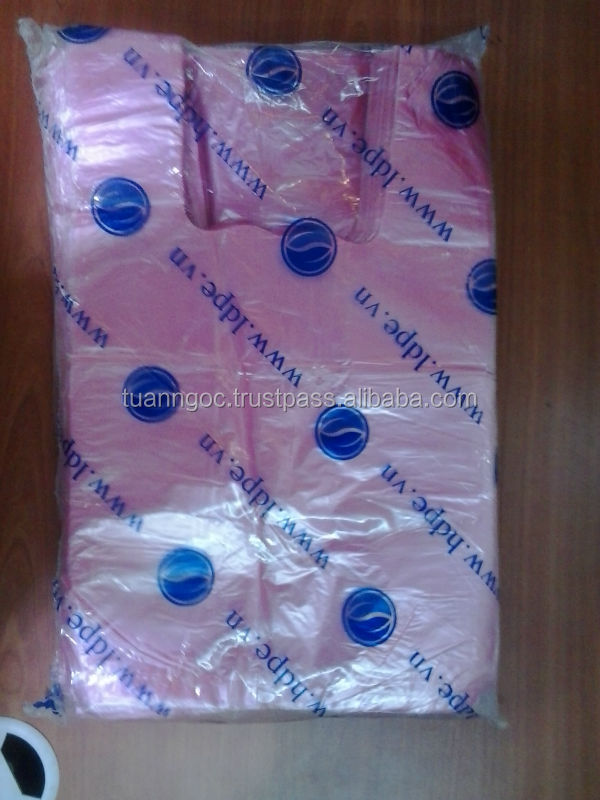Case of plastic T-shirt bags/ HDPE bag for supermarket/ garbage bag