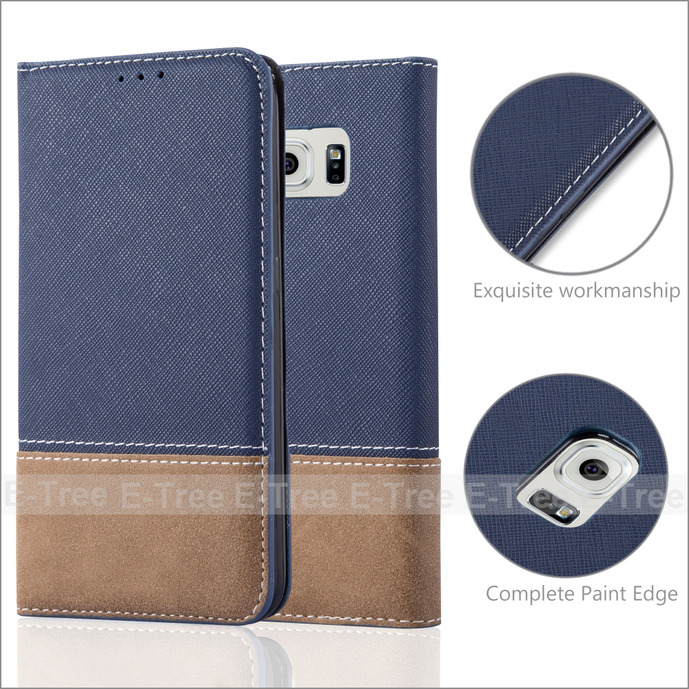 Invisible Magnet Jean Fabric Wallet Leather Phone Case Cover With Card Holders for Samsung Galaxy S6