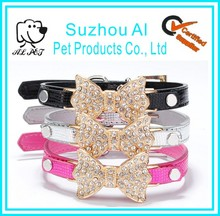 Wholesale Bling Rhinestone Golden Butterfly Knot Pet Dog Collar