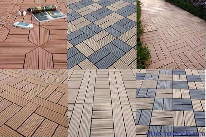 Wpc diy tile waterproof outdoor decking floor tile cheap for Carrelage 1m 1m