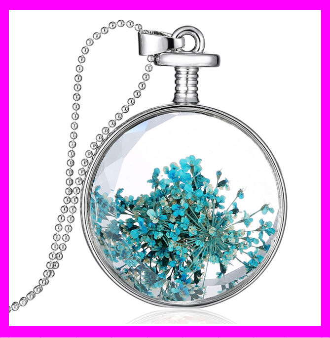 KD6568 Charming Jewelry Styles Round Shape Real Dried Flower Pendant Necklace