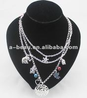 fashion siliver-plating lariat & pendant necklace