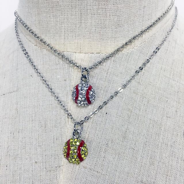 Baseball Metal Necklace Jewelry Wholesale Blanks Rhinestone Softball Baseball Jewelry Sports Team Accessories DOM106473