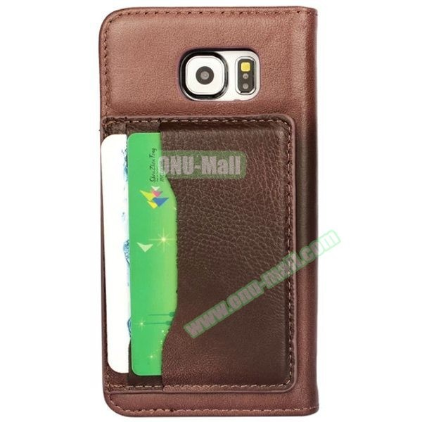 With Card Slots on the Back Lambskin Wallet Style Genuine Leather Case for Samsung Galaxy S6 Cover