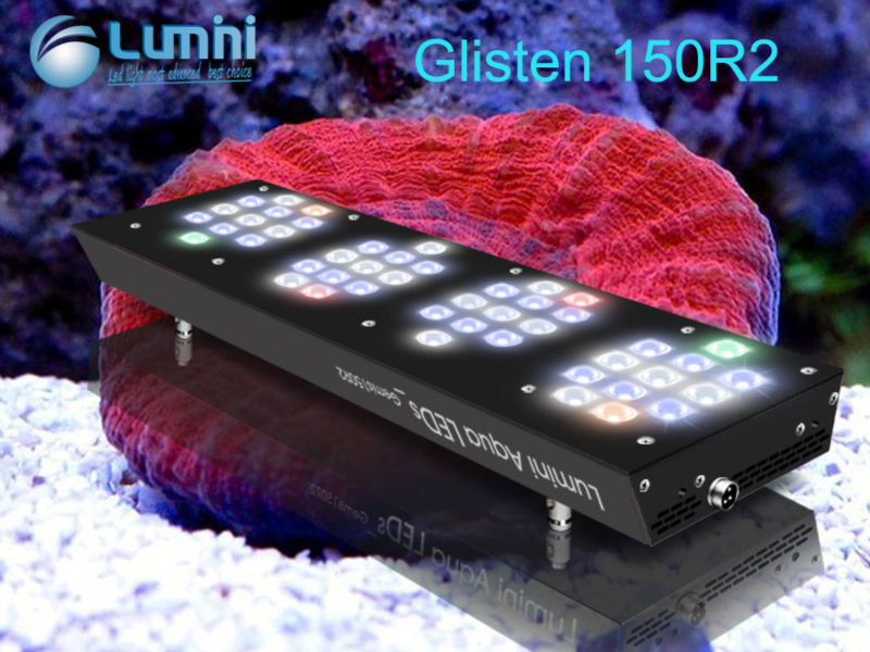 2015 Shenzhen Lumini New 150W Programable LED Aquarium Light Wifi for Saltwater Reef Tank Glisten 150R2
