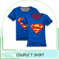 Customized 100% cotton Superman T- Shirt Lovers clothes Women's Men's casual O neck short sleeve t shirts for couples