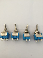 Blue body MTS-202 DPDT 6pins on-on silver plated diameter 6mm toggle switch YW2-202-A2