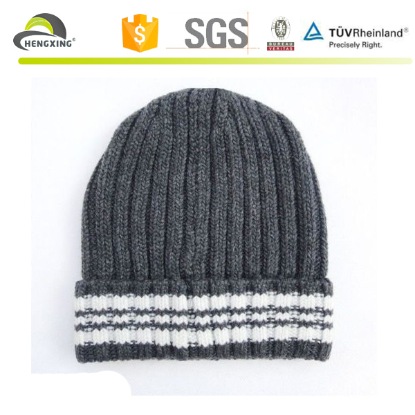 Striped Plain Beanie Knit Ski Cap Skull Hat Warm Solid Color