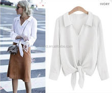 L0901A Top sell latest fashion design long sleeve casual ladies V-neck blouse