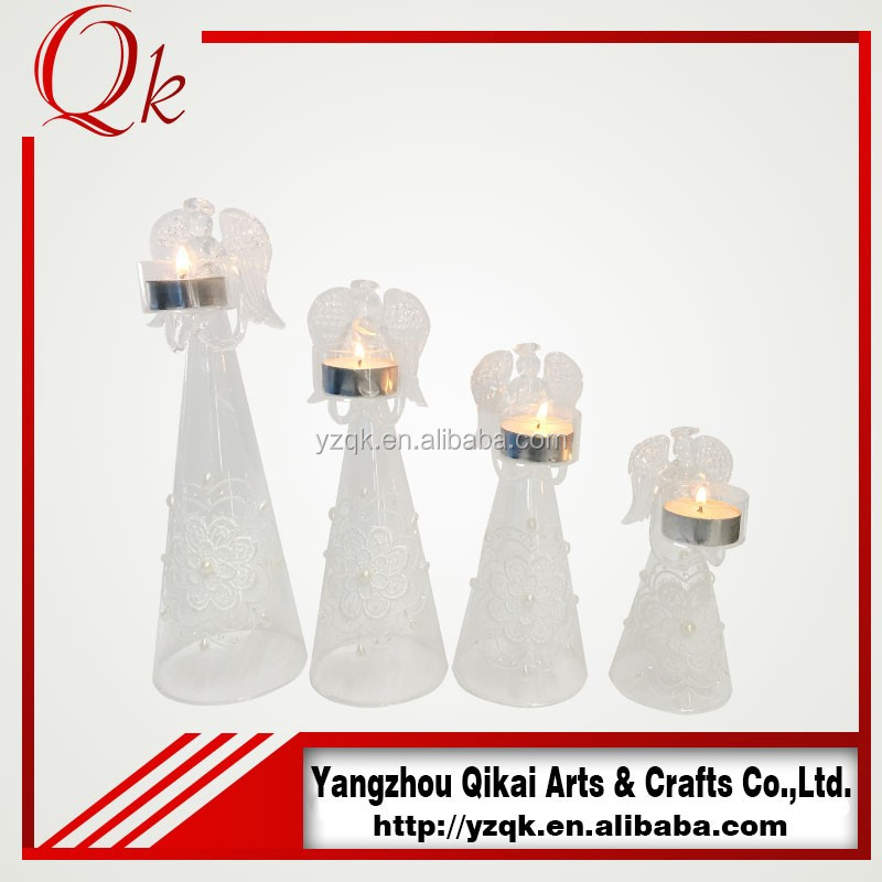 Top sell glass angels glass crafts with candlestick