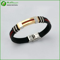 Beichong brand high quality new fashion men's stainless steel gold&silver watch buckle the silicone bracelet