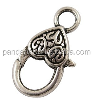 Vintage Antique Silver Tibetan Style Alloy Heart Lobster Lock Clasps Wholesale
