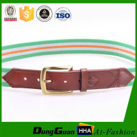 Stripe Men's fabric leather belt