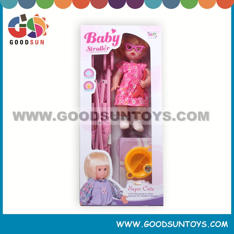Directly sell baby doll carts for girls with tableware doll stroller sets lovely doll carts