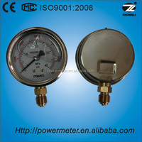 2.5'' 63mm half SS oil filled pressure gauge lower mount brass internals thread and pressure range can be customized