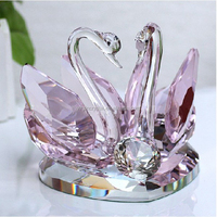 Big Size Pink Crystal Swans With Crystal Heart Base For Crystal Valentine's Day Gift