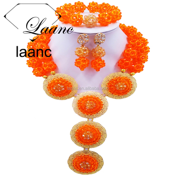 Ladies Wholesale Oragne 2 Rows Nigerian Wedding Crystal Beads Ball African Costume Jewelry Set