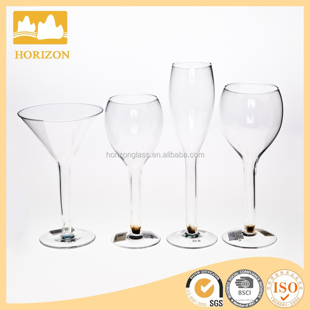 Crystal Wine Glass Drinkware Set - Colored Dot Stem Champagne Martini