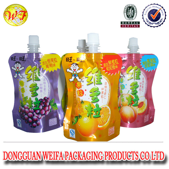 soft drinking liquid stand up pouch with spout shape juice packaging alcohol package bag