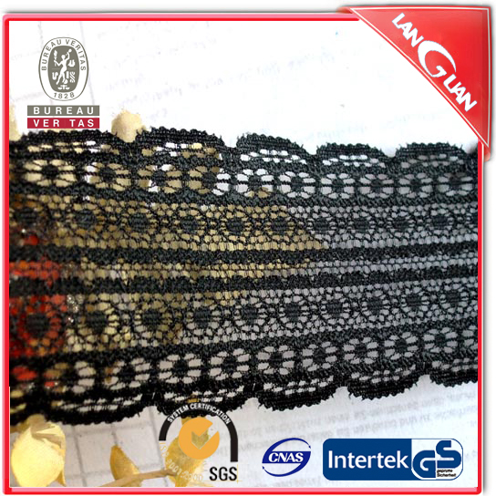 Black color fancy chemical battenburg lace trim