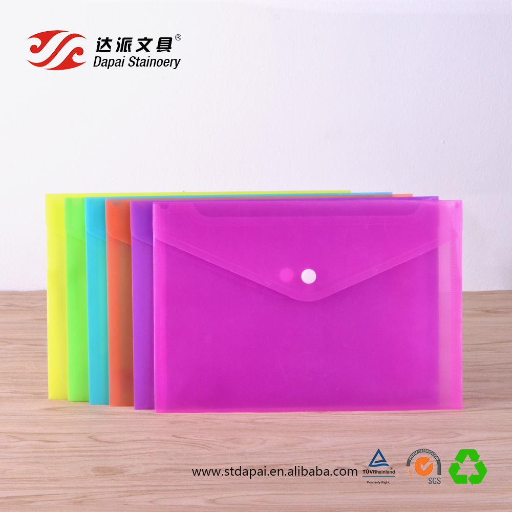 Custom a5 size pvc clear plastic file envelopes with fastener