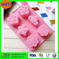 Six cavity different flower soap shape silicone cake baking mold