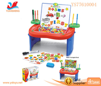 Apple shape 4 in 1 learning desk with letter and number magnets writing board
