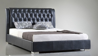 Hot selling 2015 new double bed design PU king size bed with button headboard