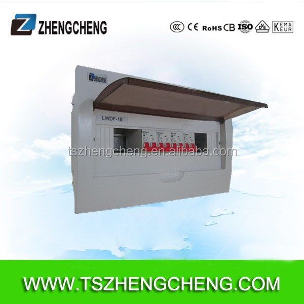 Din rail 125A Flush mount 18 way electrical distribution box PP box white cover, injection box