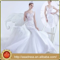 MMSA New Style Heavy Beading See Through Mermaid Plus Size Wedding Dresses in Dubai