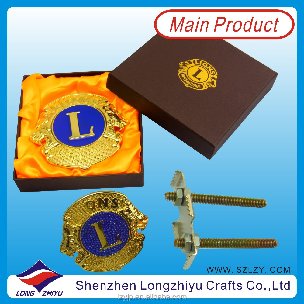 Custom Wholesale Gold Lions Club Car Logo Badge Car Emblem With Gift Box