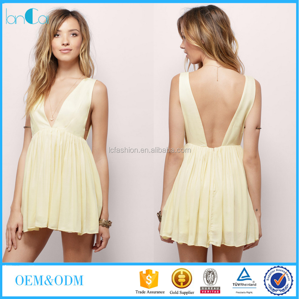 Pictures of ladies dresses halter designs sleeve back scoop high waist sexy deep v neck
