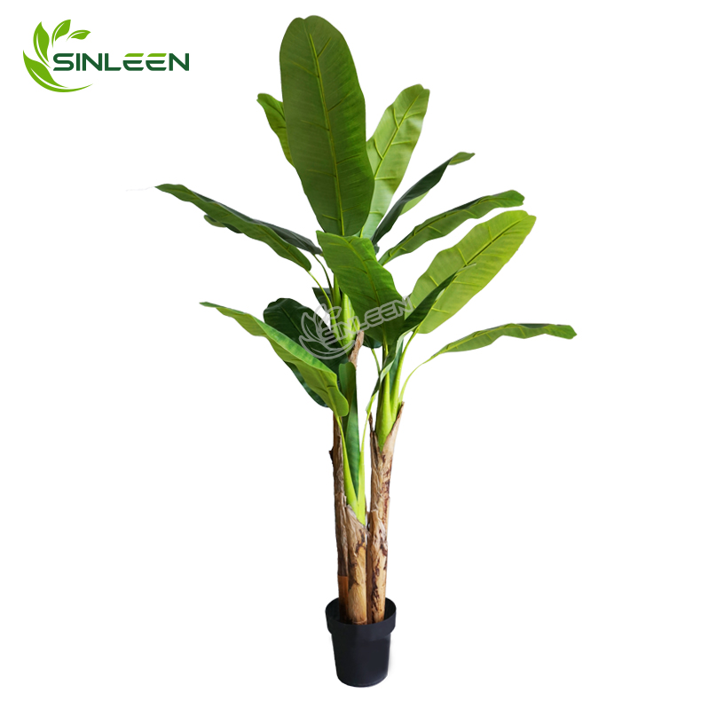 Made In China Lifelike Indoor Decor Artificial Plastic Banana Leaf Plant Tree