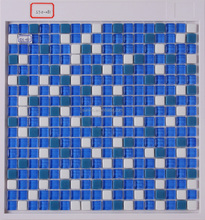 Blue color architectural decoration hall's background wall enamel glass mosaic tile