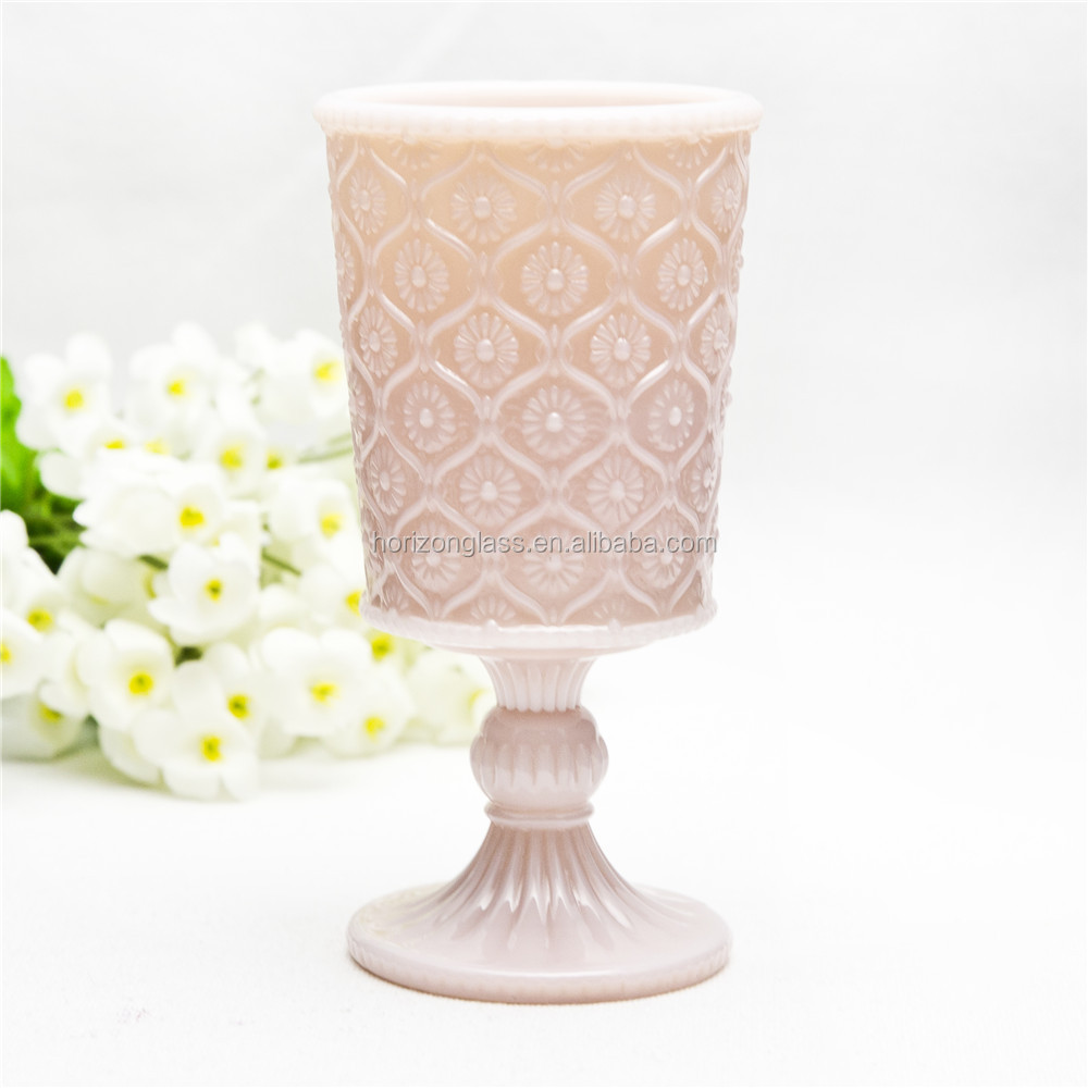 Sunflower decorative pattern jade goblet wine glass cute pink colored glass water goblet with stem for wedding use