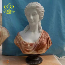 Hand carving white marble Lifelike girl bust statues for home decorate