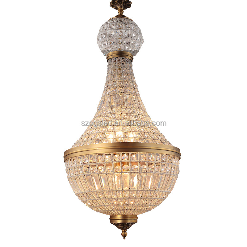 Luxury modern french empire light crystal chandelier bronze crystal ball pendant lamp
