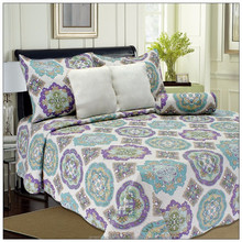 Indian Purple Patchwork Cotton Batik Bedspreads Quilt