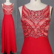 CY50878 new design sleeveless beaded red long evening dress party dress