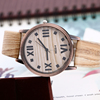 High Quality Leather Strap Watches For Women Retro Roman Number Alloy Quartz Wristwatch Wood Surface Watch Gift