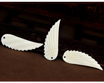Carved Shell Wing Pendants, Mother of Pearl Wing Charms, 48mm Large