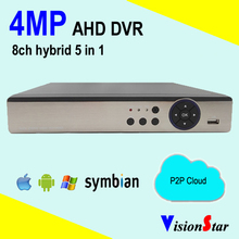 H.264 CCTV dvr AHD 8ch 4mp hybrid P2P HVR security network digital video recorder