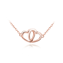 standard italian silver Dual Use double heart link pendant necklace