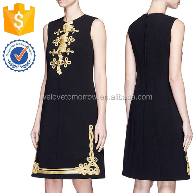 Summer Black Military Embroidery Virgin Wool Bleng Dresses Of Women Manufacture Wholesale Fashion Women Apparel (TF0432D)