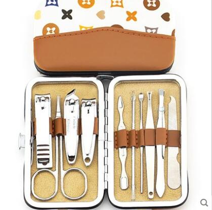 Nail tools manicure set with real leather bag nail art kits