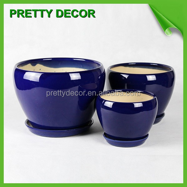 White Blue Orange Red Glazed Ceramic Flower Pots Planters