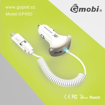 Certificated CEE/FCC/EEC/RoHS/Reach Electric Car Battery Charger Made For Universal Phones/Pads